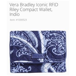 NWT Vera Bradley Iconic Compact Wallet 💙